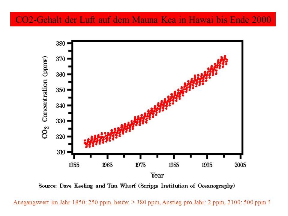 CO2-Gehalt der Luft auf dem Mauna Kea in Hawai bis Ende 2000