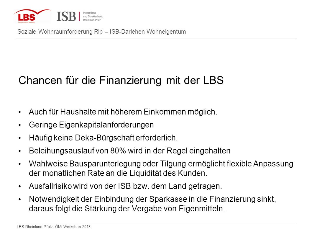 Chancen für die Finanzierung mit der LBS