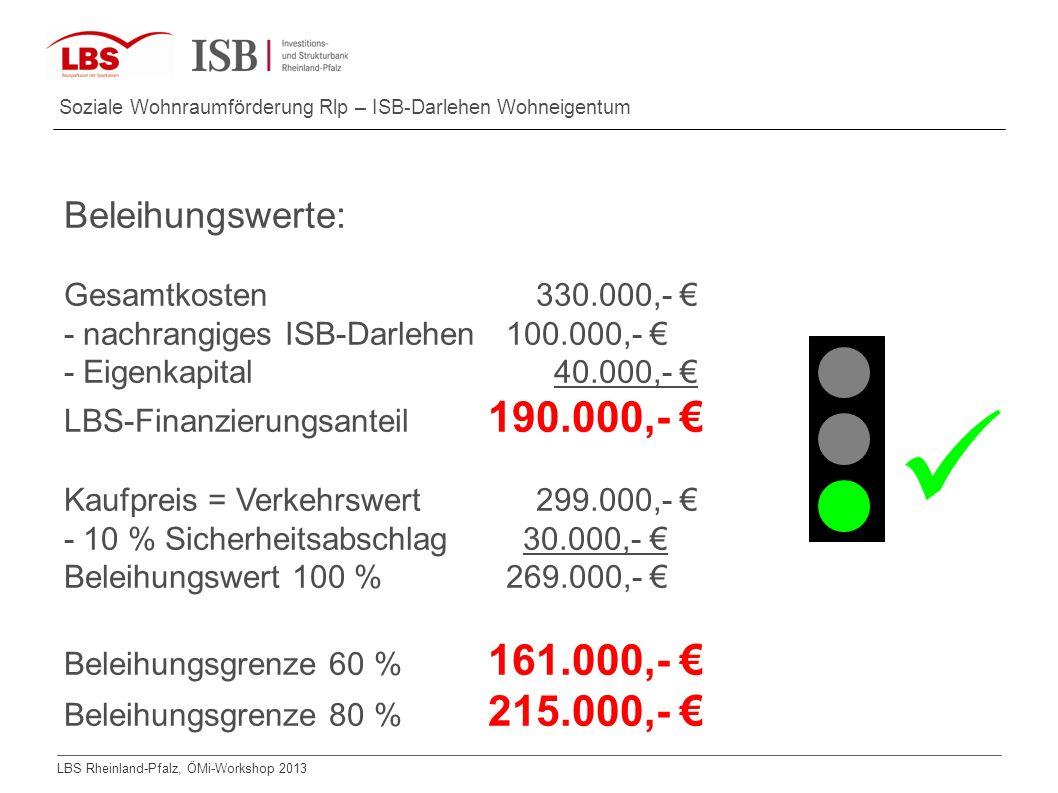  Beleihungswerte: Gesamtkosten 330.000,- €