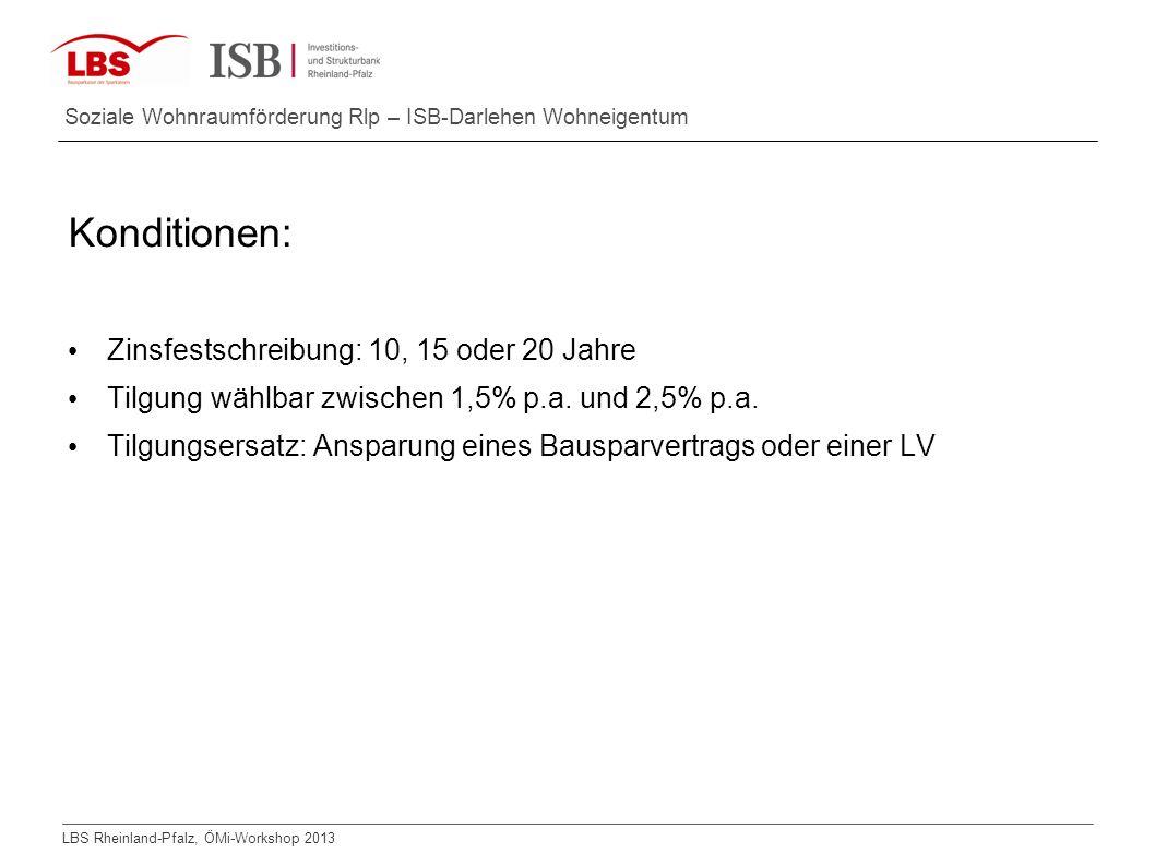Konditionen: Zinsfestschreibung: 10, 15 oder 20 Jahre
