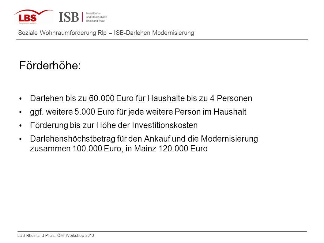 Förderhöhe: Darlehen bis zu 60.000 Euro für Haushalte bis zu 4 Personen. ggf. weitere 5.000 Euro für jede weitere Person im Haushalt.