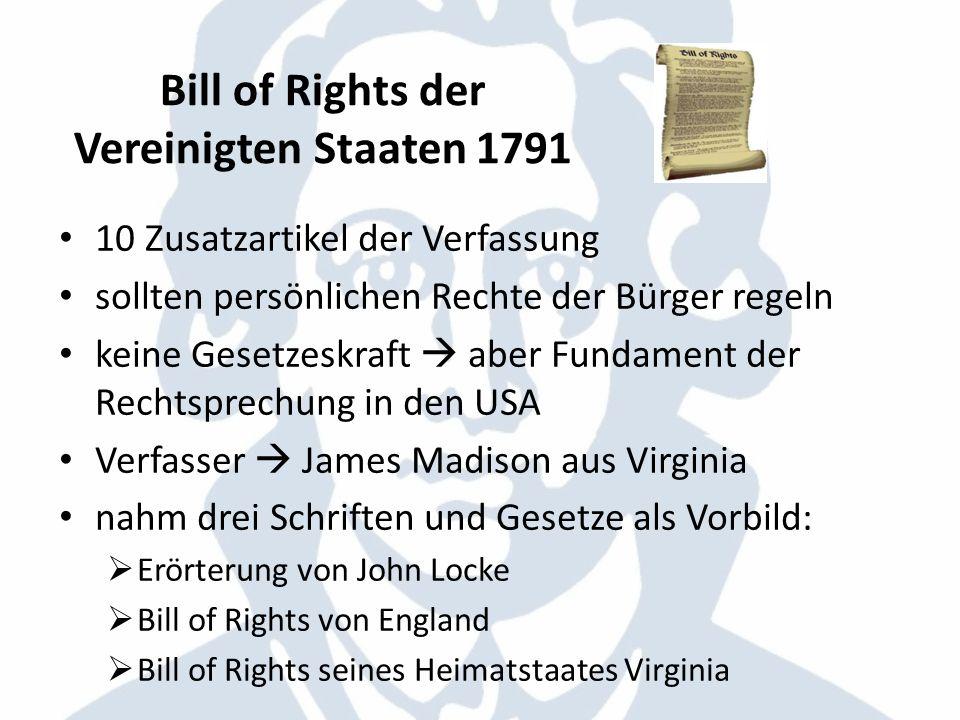 Bill of Rights der Vereinigten Staaten 1791
