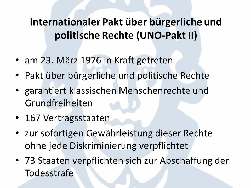 Internationaler Pakt über bürgerliche und politische Rechte (UNO-Pakt II)