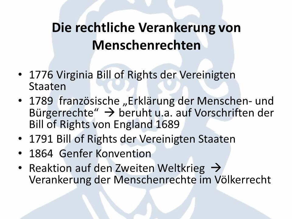 Die rechtliche Verankerung von Menschenrechten