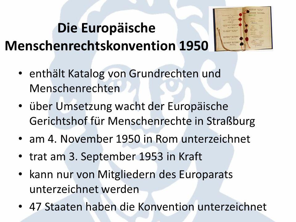 Die Europäische Menschenrechtskonvention 1950