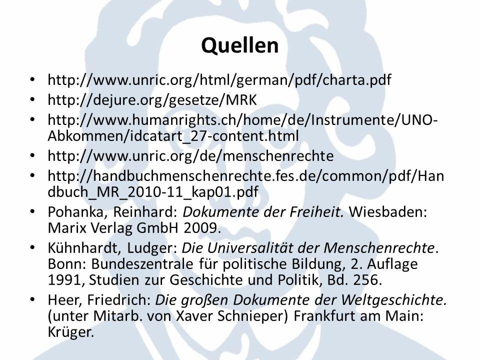 Quellen http://www.unric.org/html/german/pdf/charta.pdf