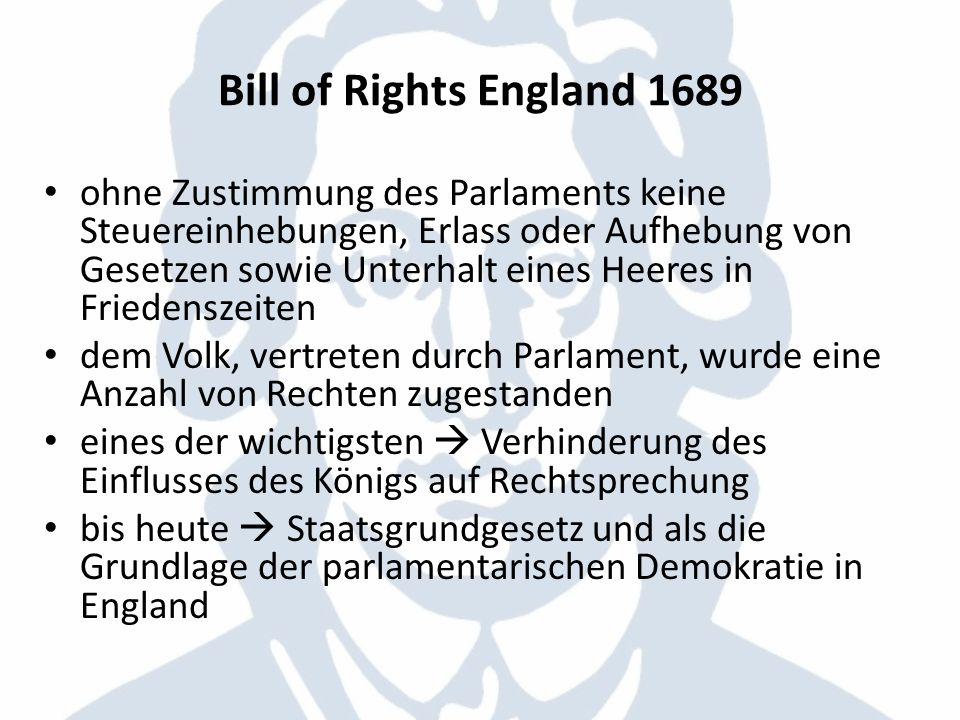 Bill of Rights England 1689