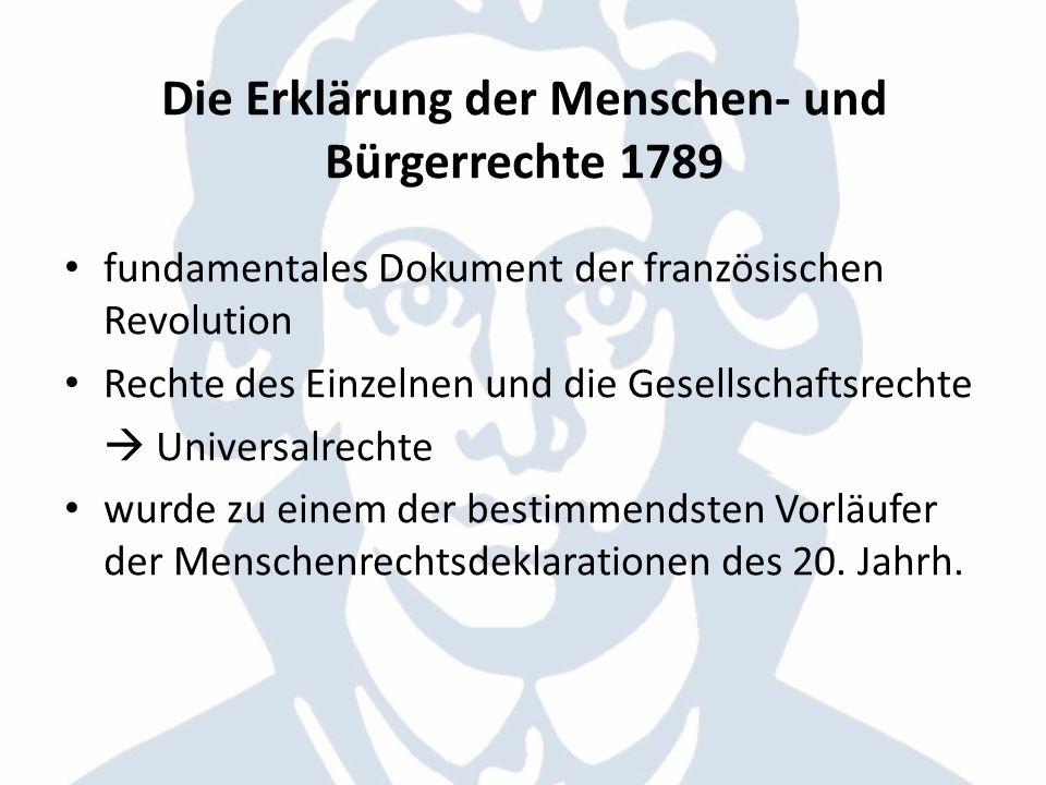 Die Erklärung der Menschen- und Bürgerrechte 1789