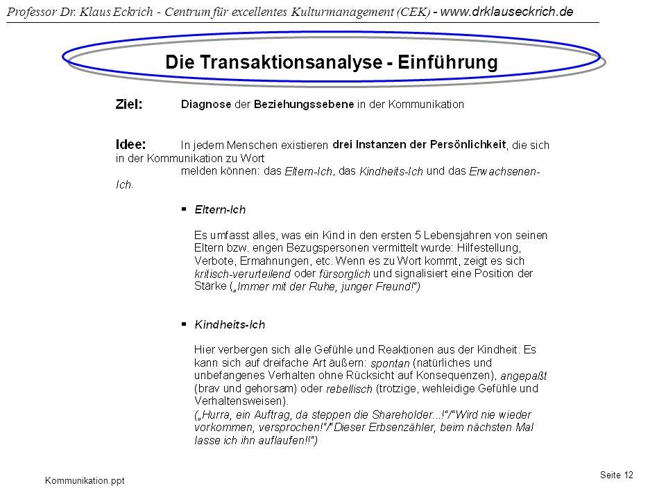 Die Transaktionsanalyse - Einführung