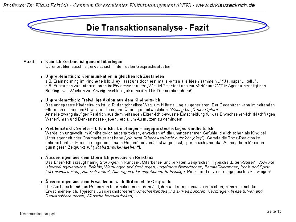 Die Transaktionsanalyse - Fazit