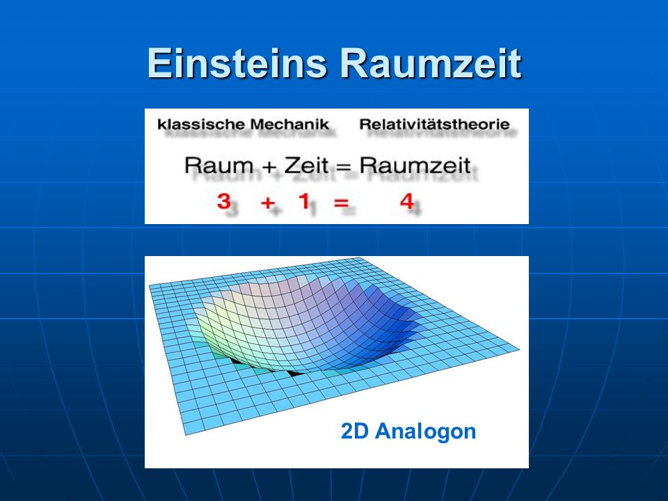 Einsteins Raumzeit 2D Analogon