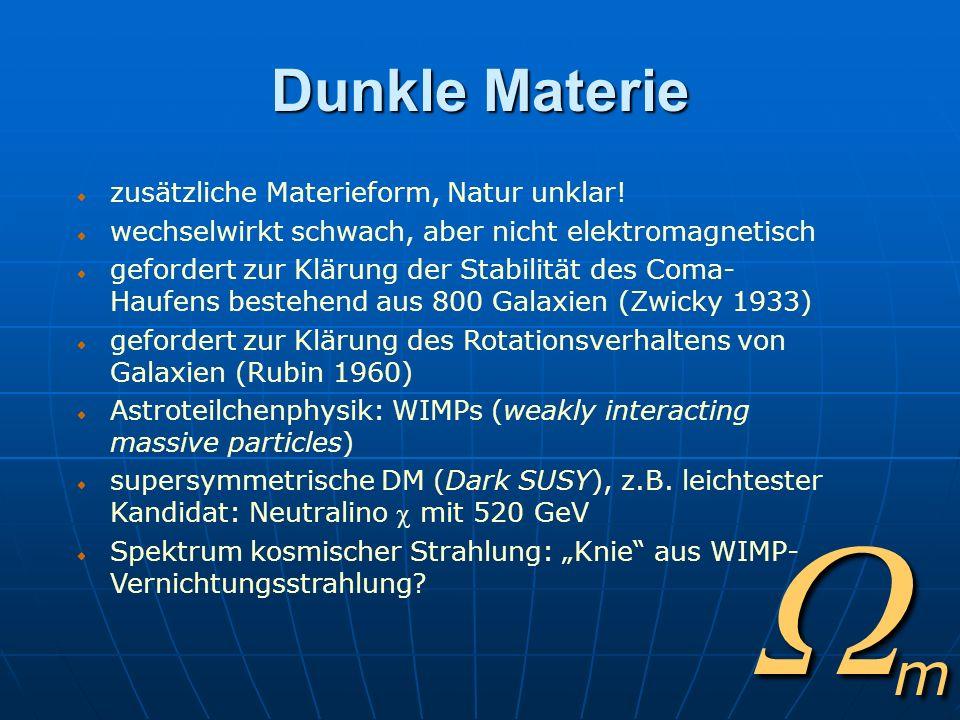 Wm Dunkle Materie zusätzliche Materieform, Natur unklar!