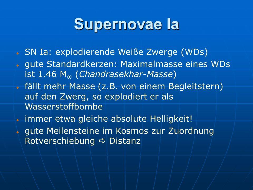 Supernovae Ia SN Ia: explodierende Weiße Zwerge (WDs)