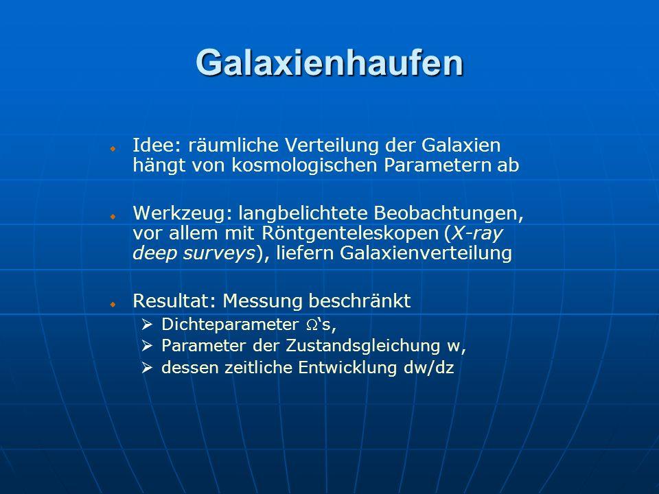 Galaxienhaufen Idee: räumliche Verteilung der Galaxien hängt von kosmologischen Parametern ab.