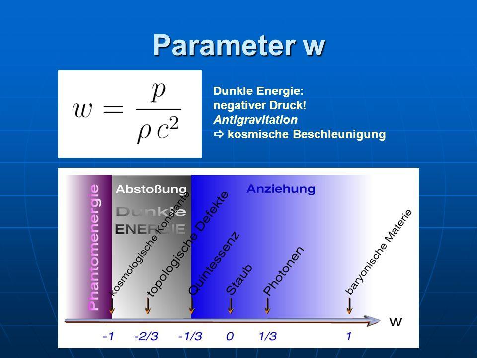 Parameter w Dunkle Energie: negativer Druck! Antigravitation