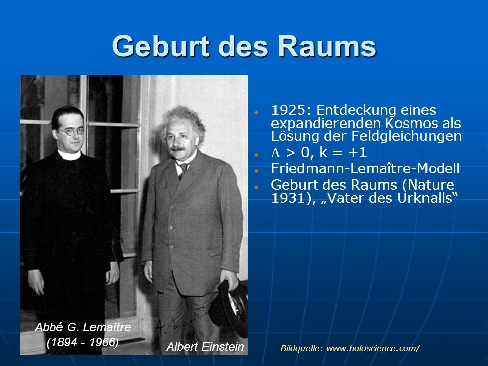 Geburt des Raums 1925: Entdeckung eines expandierenden Kosmos als Lösung der Feldgleichungen. L > 0, k = +1.