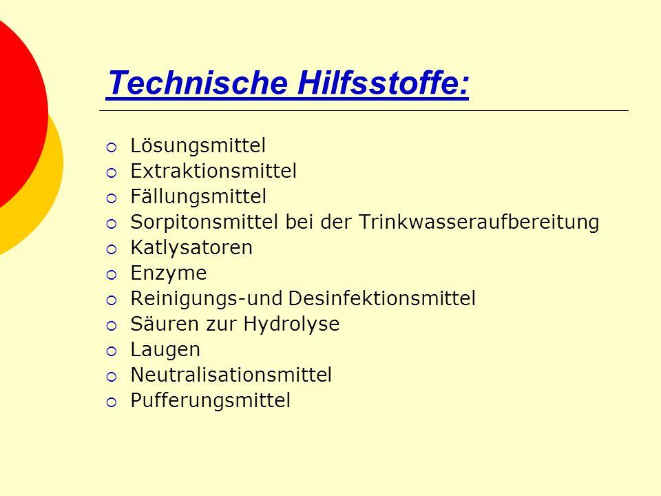 Technische Hilfsstoffe: