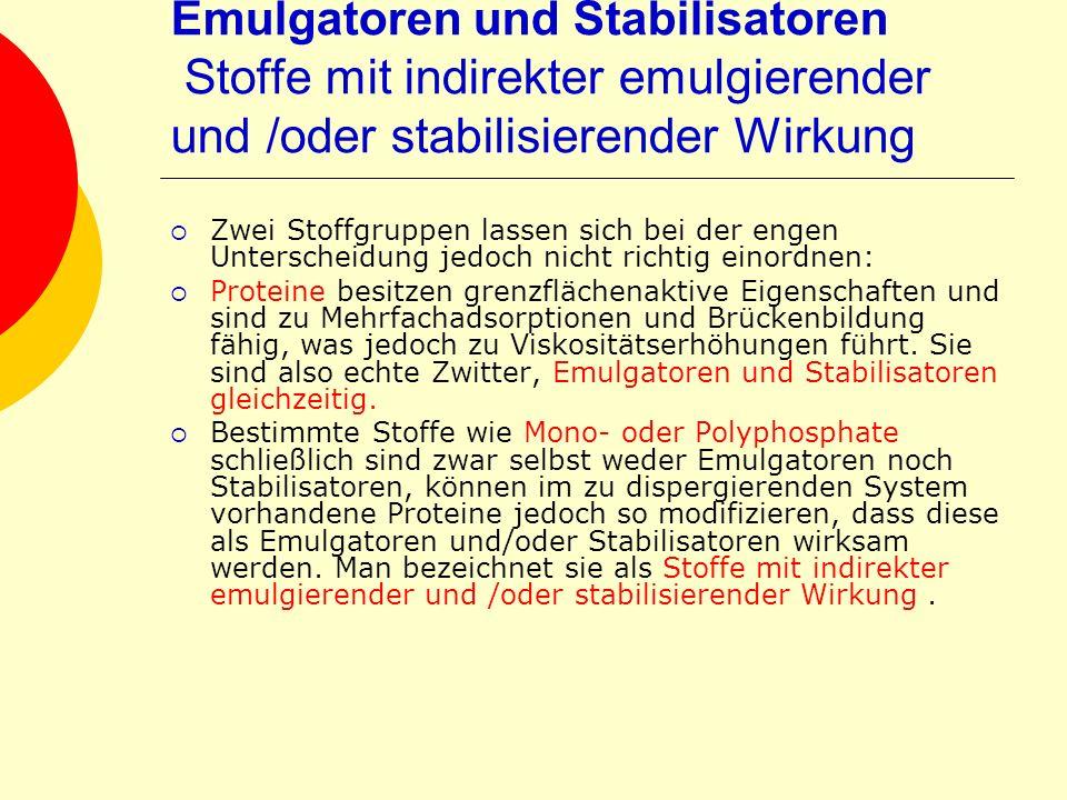 Emulgatoren und Stabilisatoren Stoffe mit indirekter emulgierender und /oder stabilisierender Wirkung