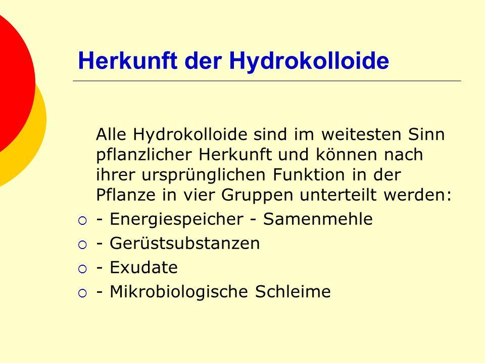 Herkunft der Hydrokolloide