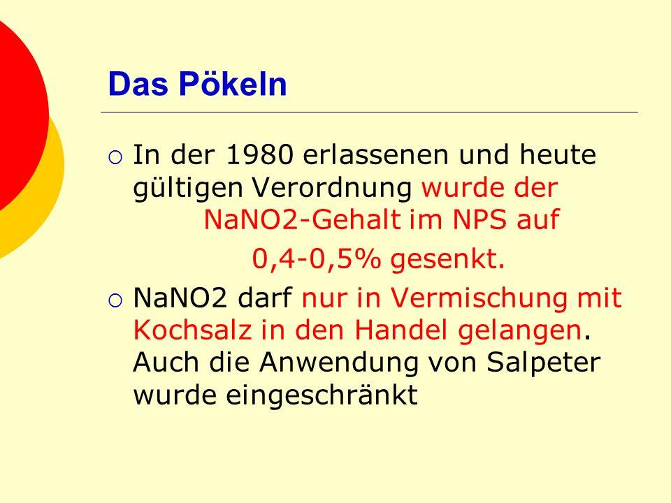 Das Pökeln In der 1980 erlassenen und heute gültigen Verordnung wurde der NaNO2-Gehalt im NPS auf.