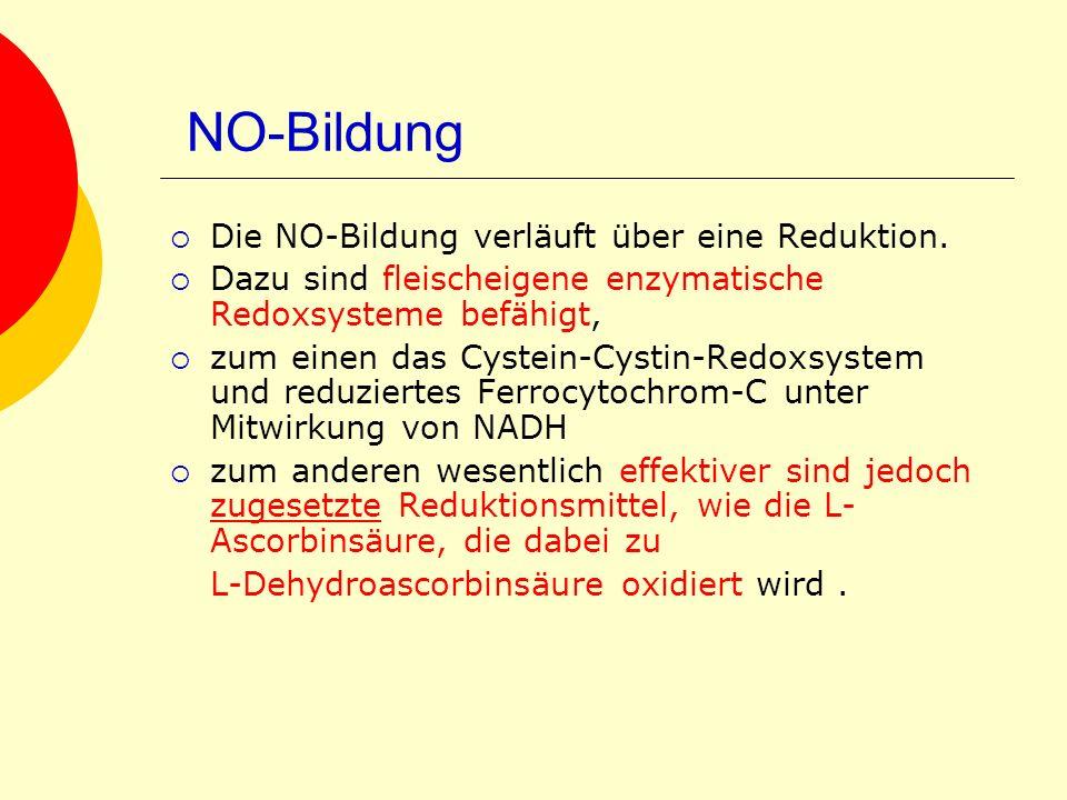 NO-Bildung Die NO-Bildung verläuft über eine Reduktion.
