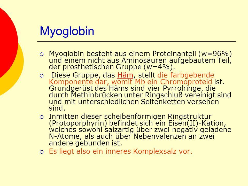 Myoglobin Myoglobin besteht aus einem Proteinanteil (w=96%) und einem nicht aus Aminosäuren aufgebautem Teil, der prosthetischen Gruppe (w=4%).