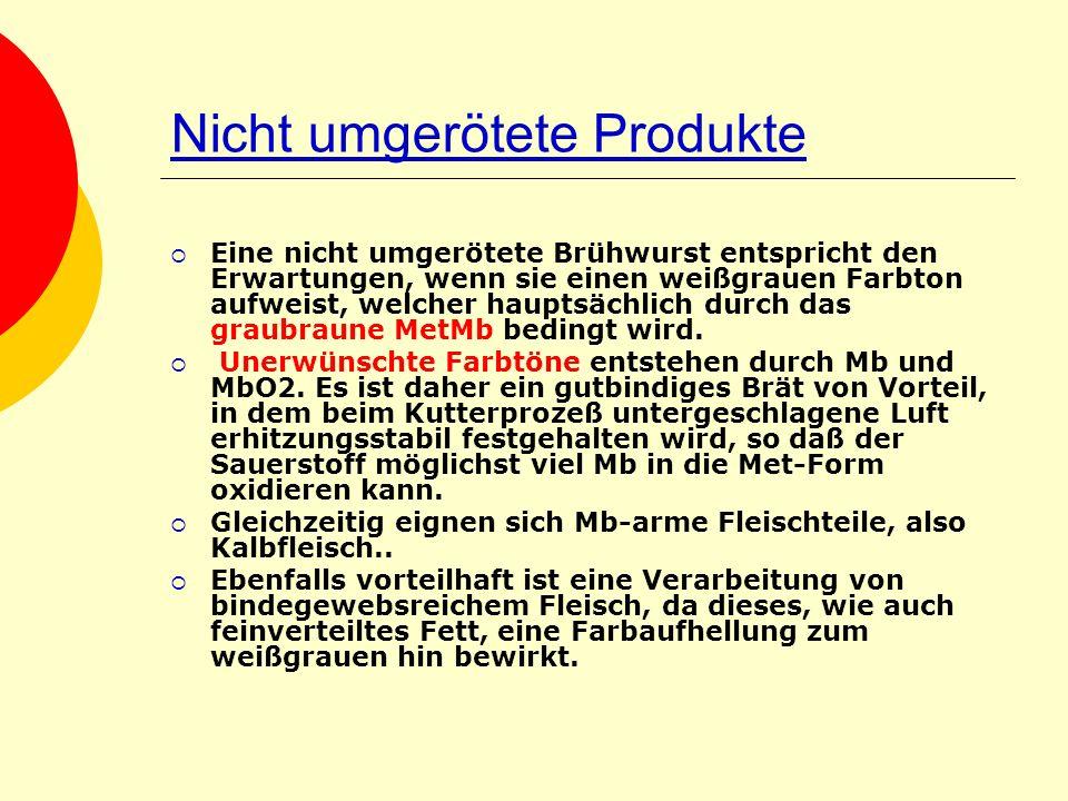 Nicht umgerötete Produkte