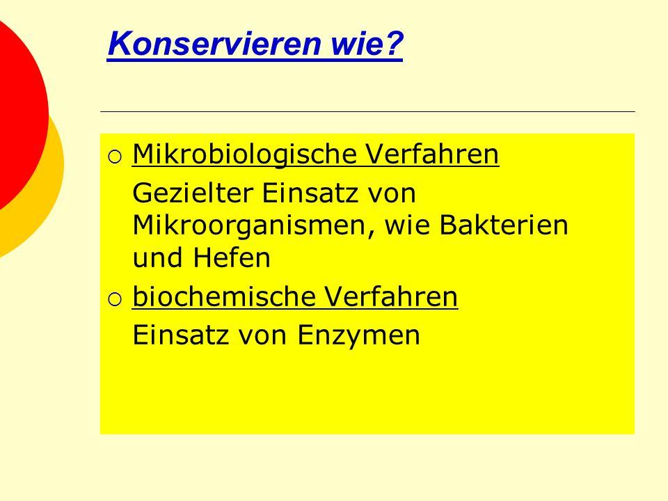 Konservieren wie Mikrobiologische Verfahren