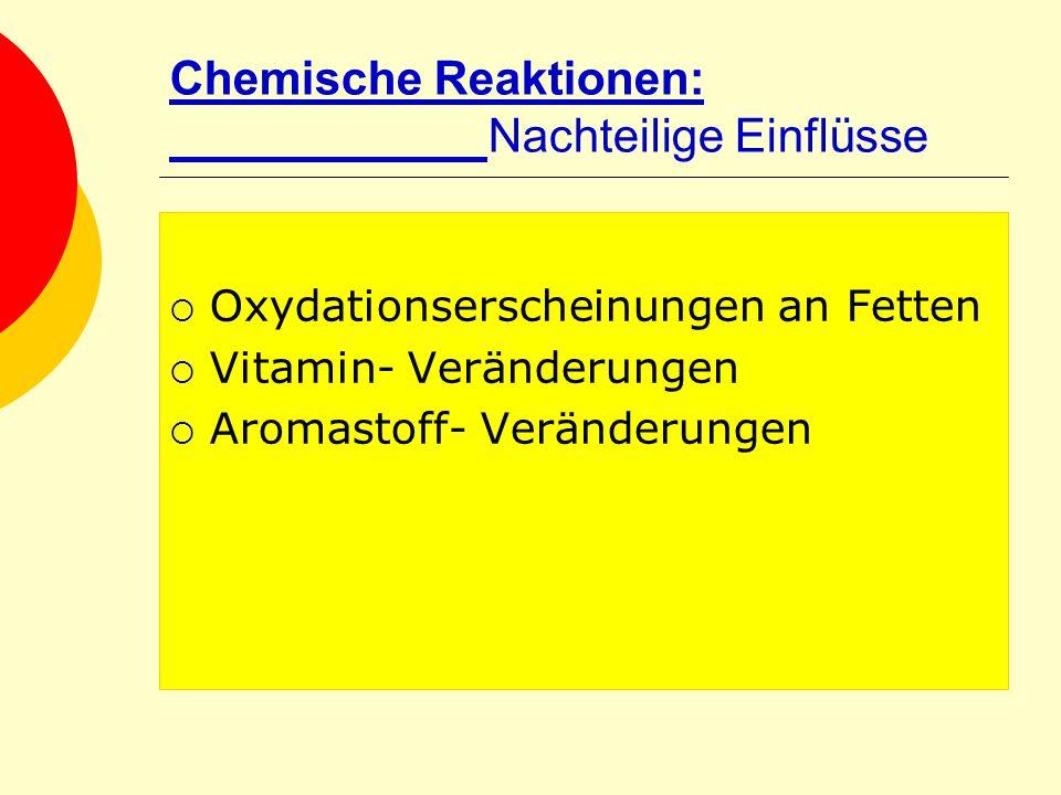Chemische Reaktionen: Nachteilige Einflüsse