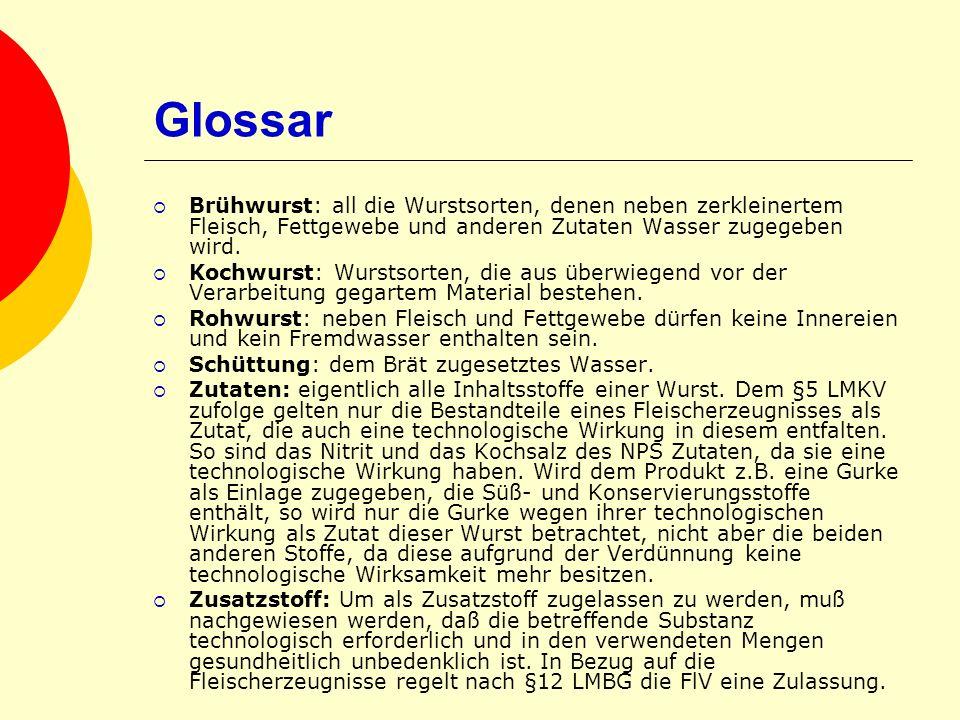 Glossar Brühwurst: all die Wurstsorten, denen neben zerkleinertem Fleisch, Fettgewebe und anderen Zutaten Wasser zugegeben wird.