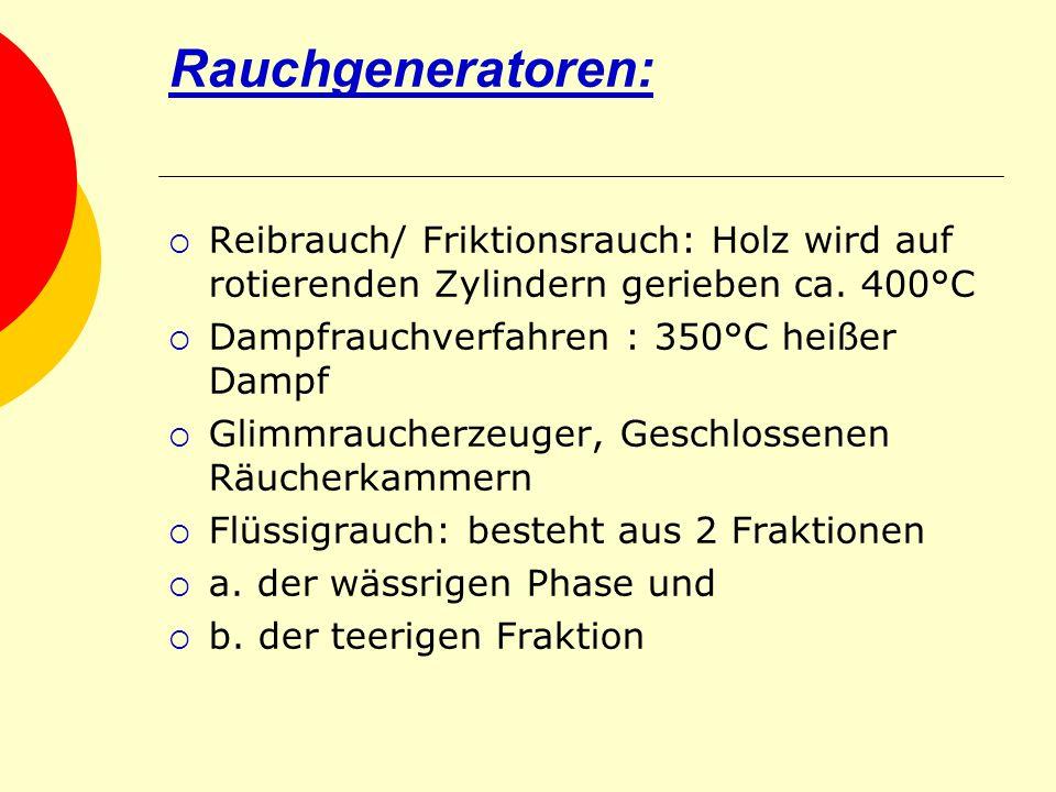 Rauchgeneratoren: Reibrauch/ Friktionsrauch: Holz wird auf rotierenden Zylindern gerieben ca. 400°C.