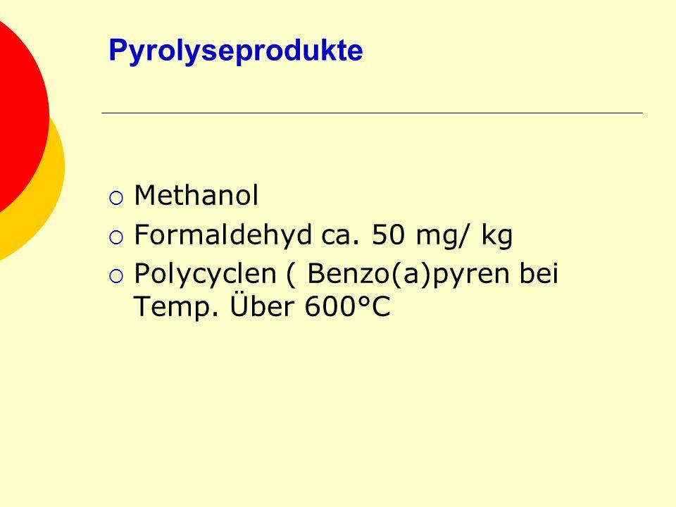 Pyrolyseprodukte Methanol Formaldehyd ca. 50 mg/ kg