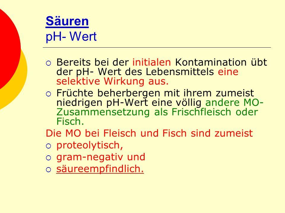 Säuren pH- Wert Bereits bei der initialen Kontamination übt der pH- Wert des Lebensmittels eine selektive Wirkung aus.