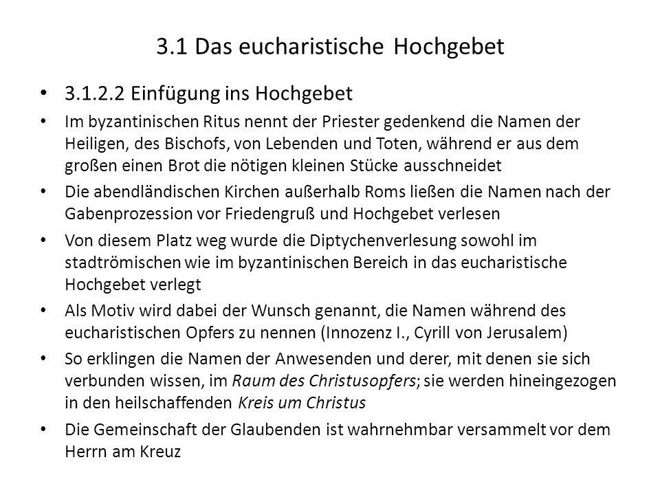 3.1 Das eucharistische Hochgebet