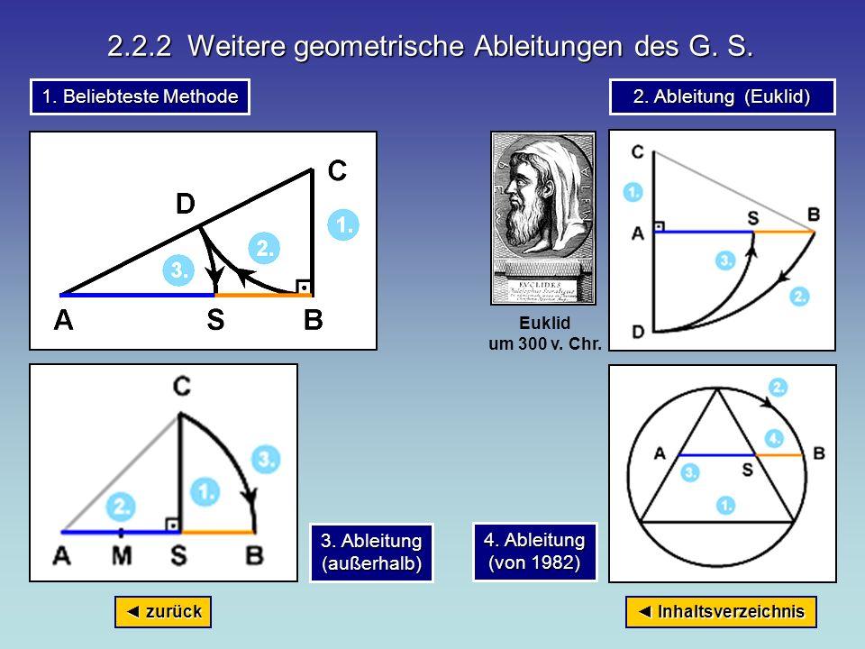 2.2.2 Weitere geometrische Ableitungen des G. S.