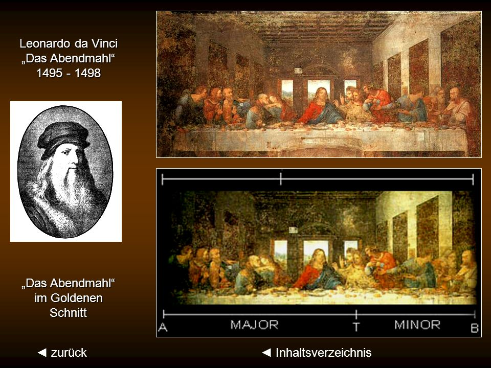 """Leonardo da Vinci""""Das Abendmahl 1495 - 1498.""""Das Abendmahl im Goldenen."""