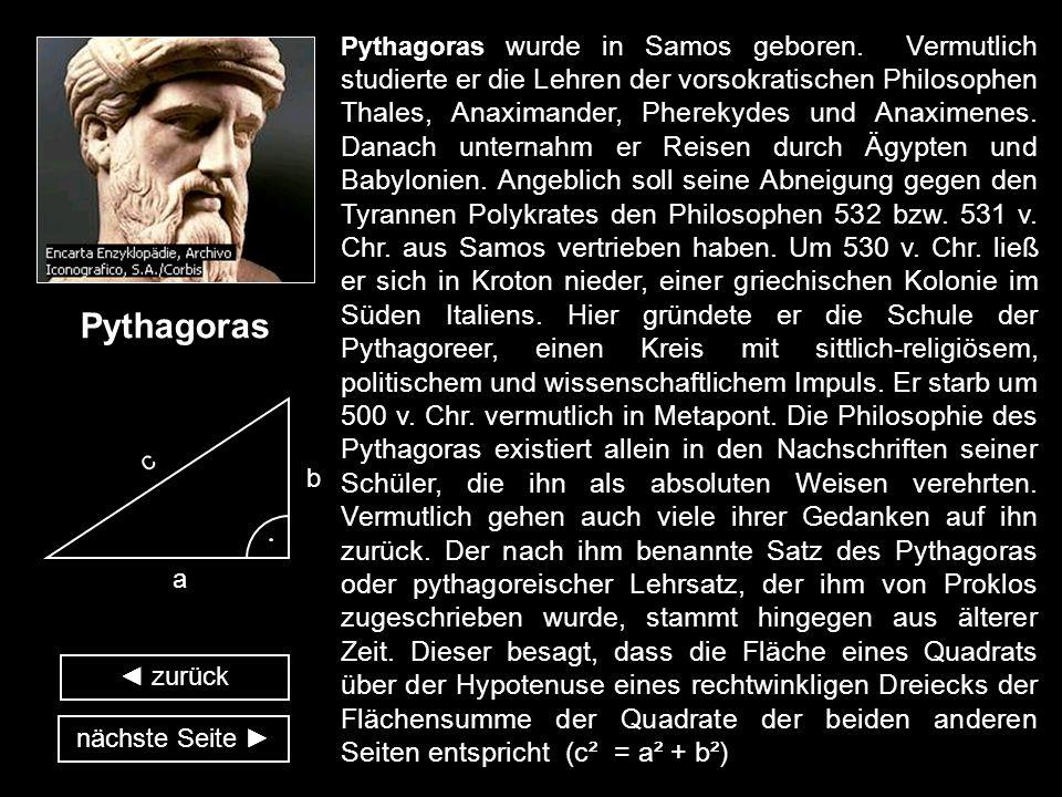 Pythagoras wurde in Samos geboren