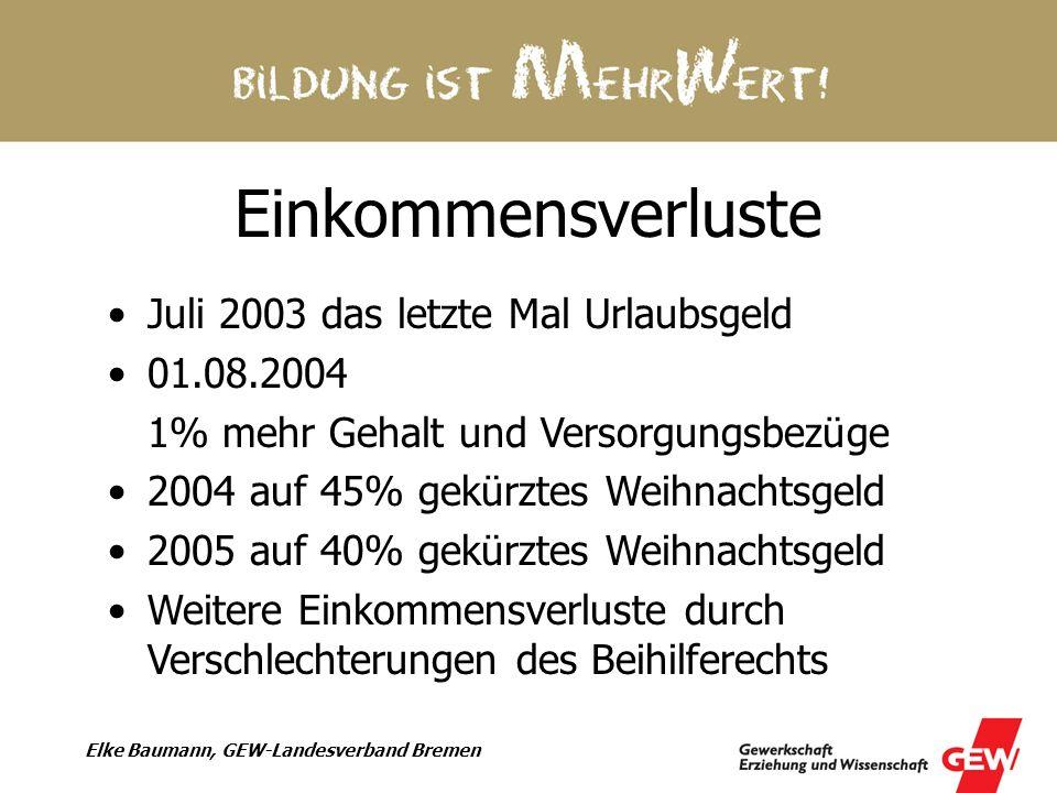 Einkommensverluste Juli 2003 das letzte Mal Urlaubsgeld 01.08.2004