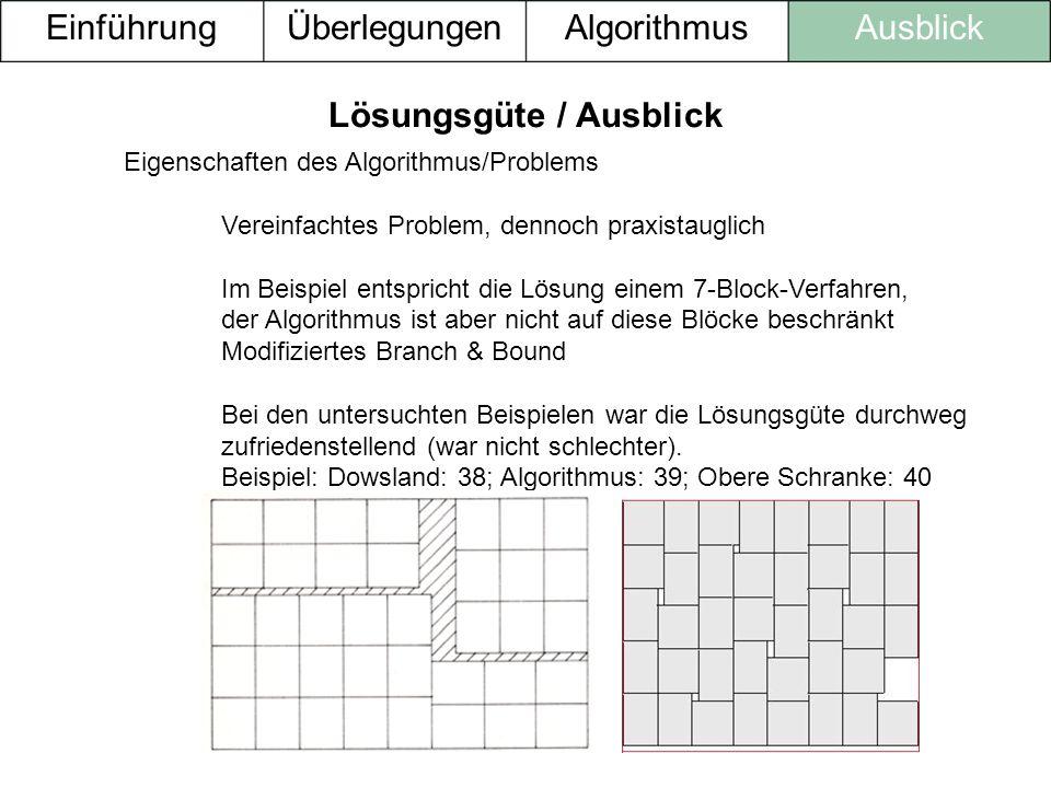 Lösungsgüte / Ausblick