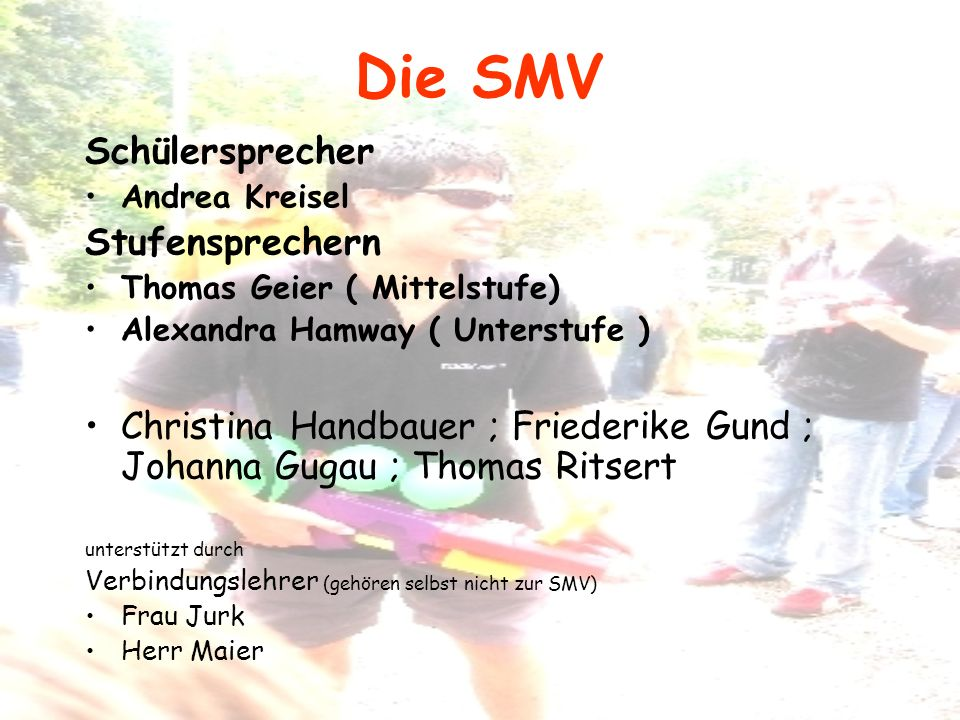 Die SMV Schülersprecher Stufensprechern
