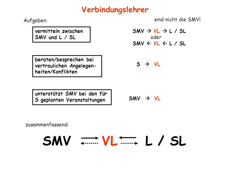 SMV VL L / SL Verbindungslehrer vermitteln zwischen SMV und L / SL