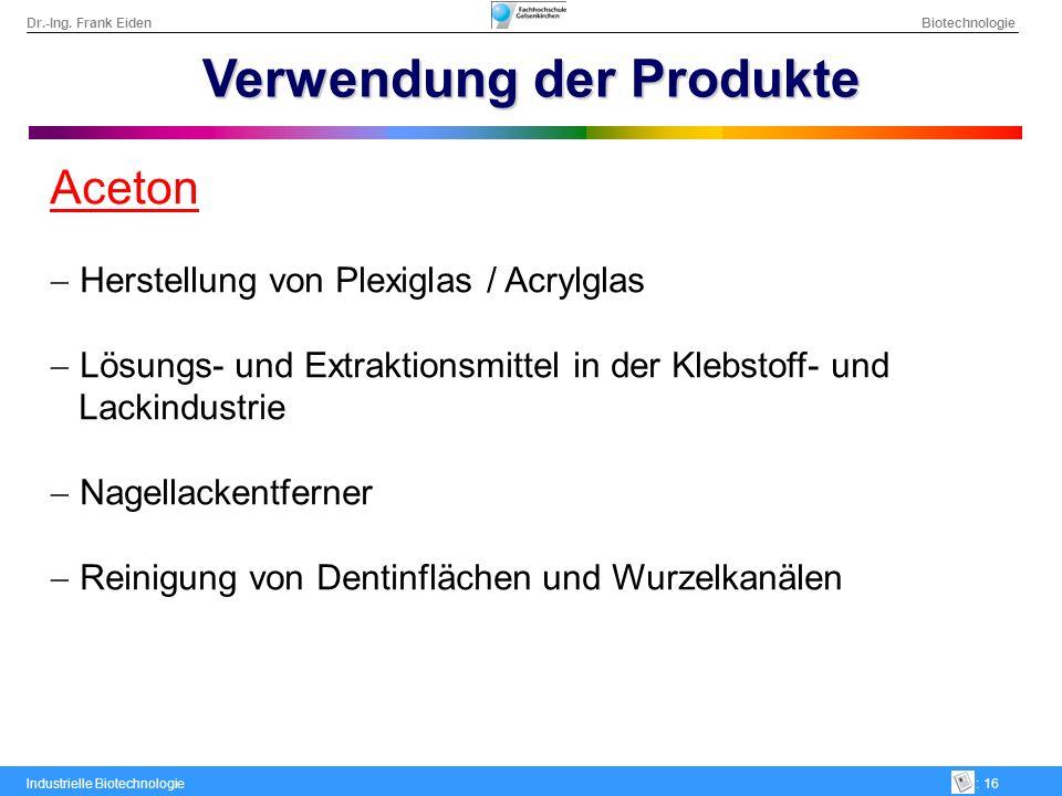 Verwendung der Produkte