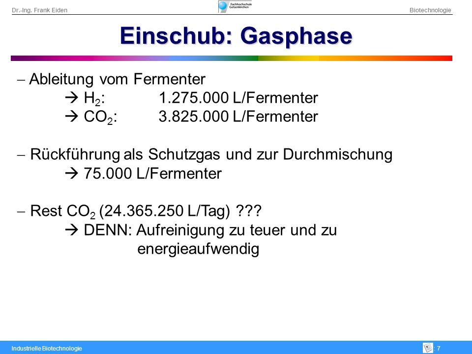 Einschub: Gasphase Ableitung vom Fermenter  H2: 1.275.000 L/Fermenter