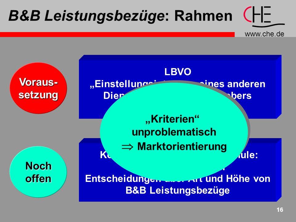 B&B Leistungsbezüge: Rahmen