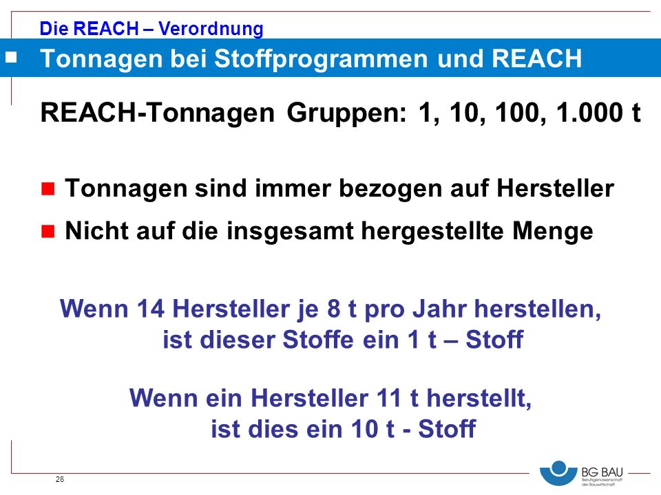 Tonnagen bei Stoffprogrammen und REACH