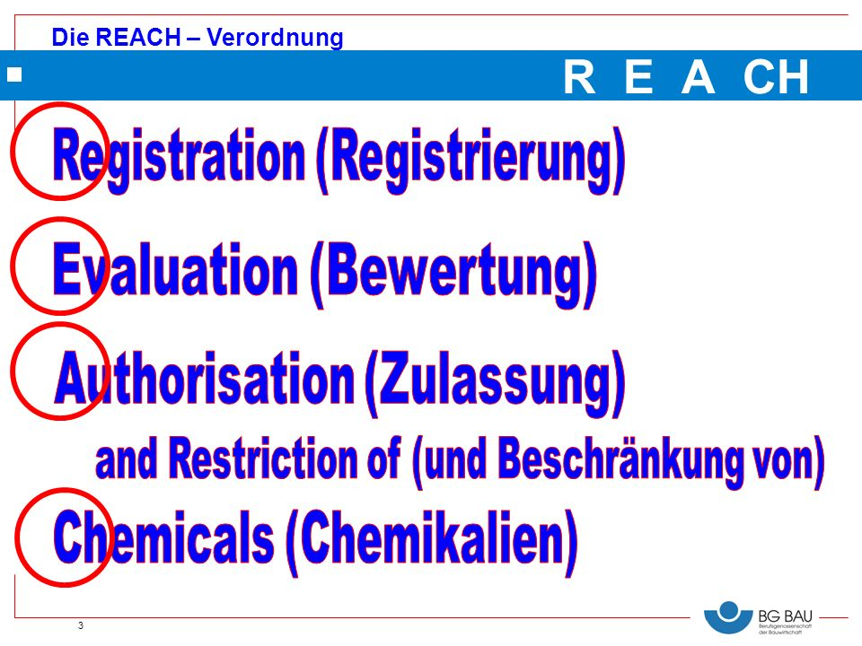 R E A CH Registration (Registrierung) Evaluation (Bewertung)
