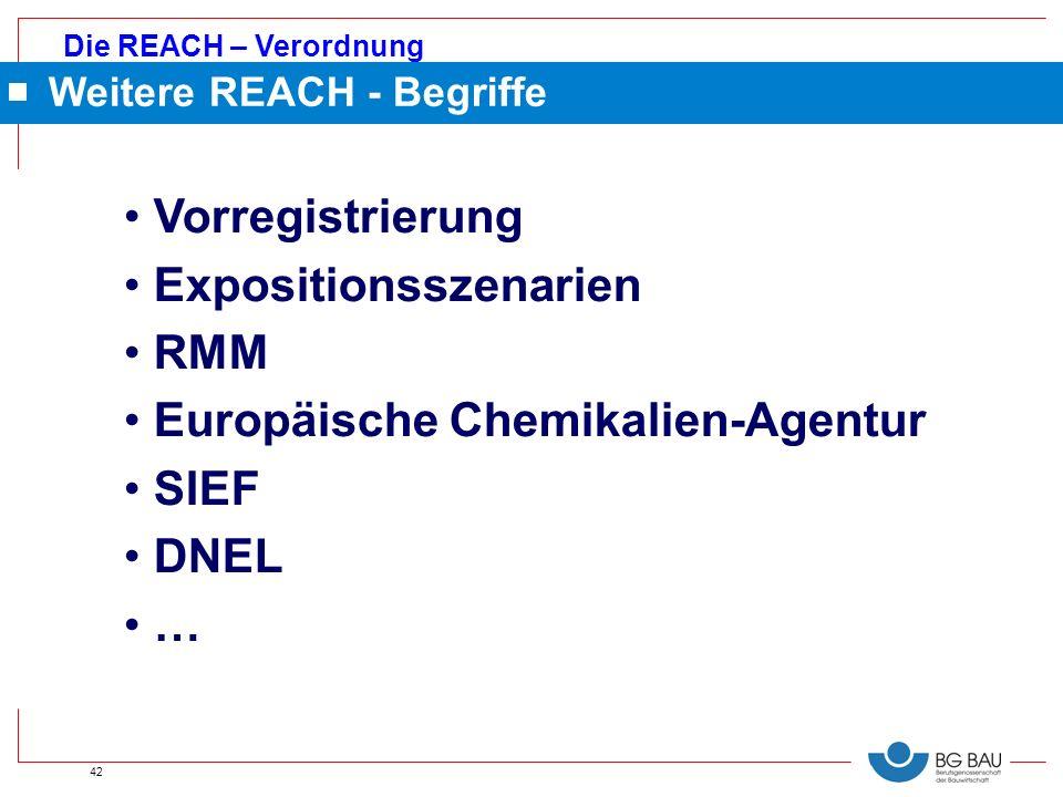 Expositionsszenarien RMM Europäische Chemikalien-Agentur SIEF DNEL …