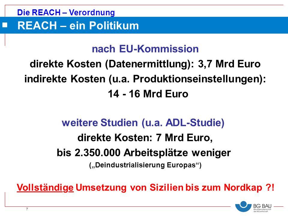 REACH – ein Politikum nach EU-Kommission