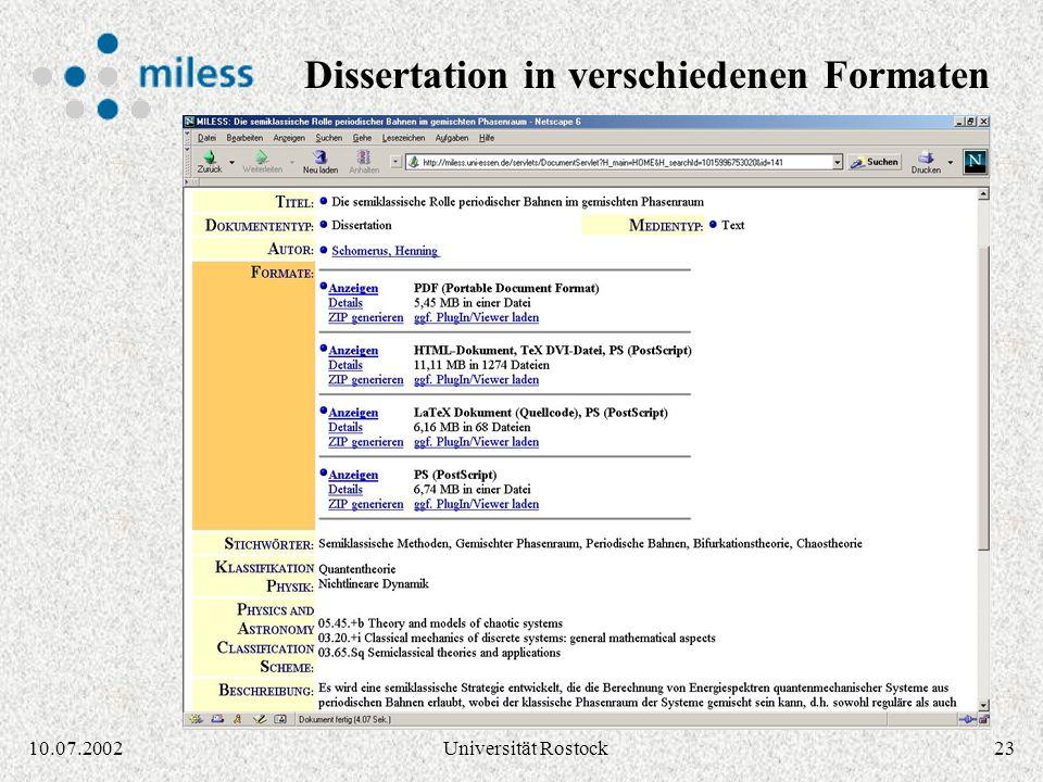 Dissertation in verschiedenen Formaten