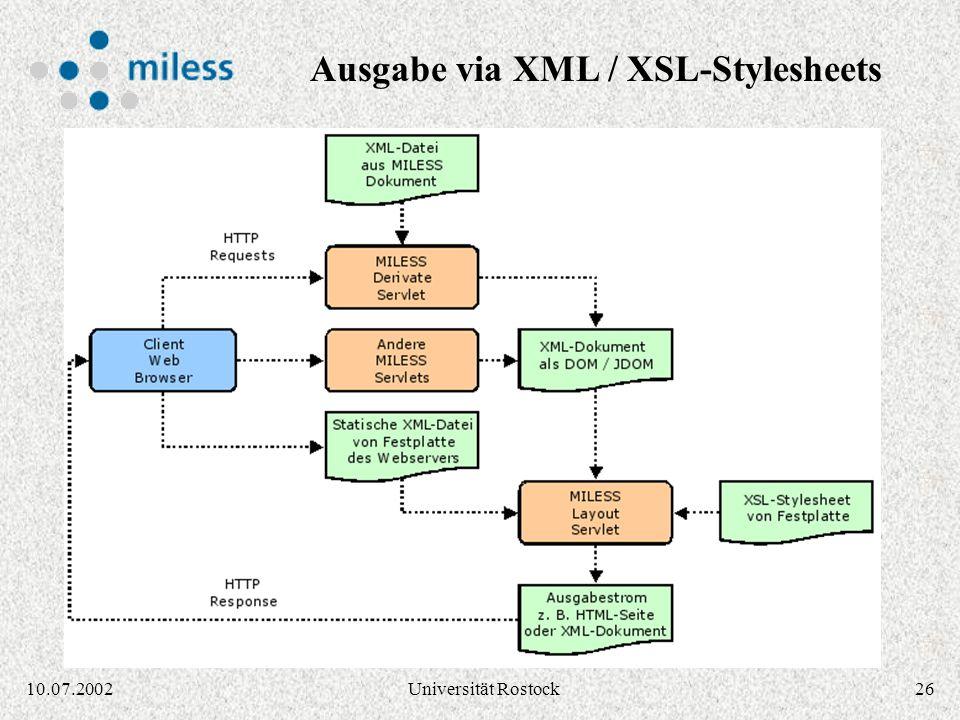 Ausgabe via XML / XSL-Stylesheets